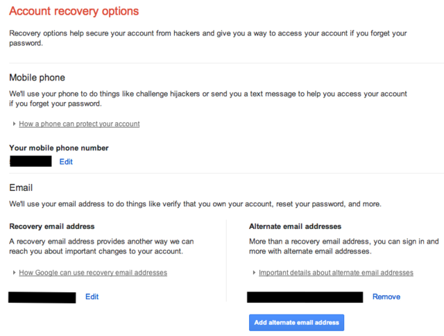 google Account Recovery Option